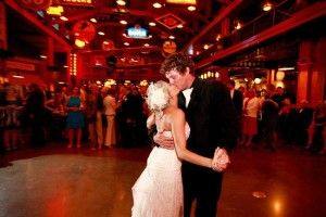 Gasoline Alley at Heritage Park provided the perfect backdrop for this fun wedding reception, guests danced the night away while the live band played.