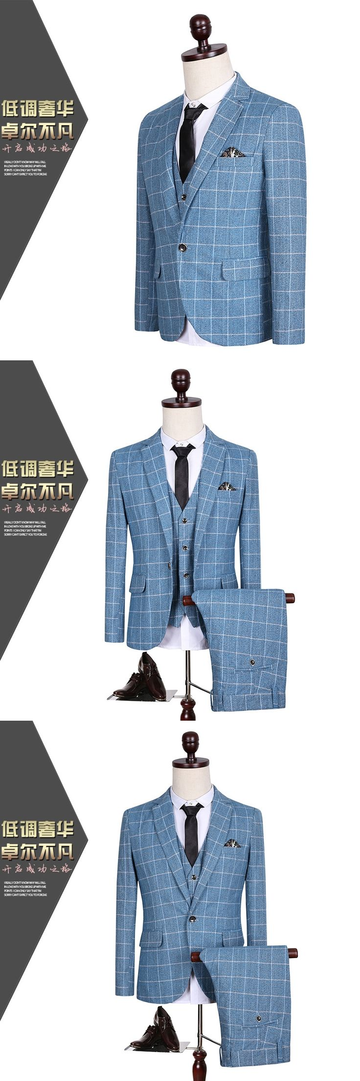 CCXO2017 three-piece suit men's suits evening party Blue suit fashion Grid suit