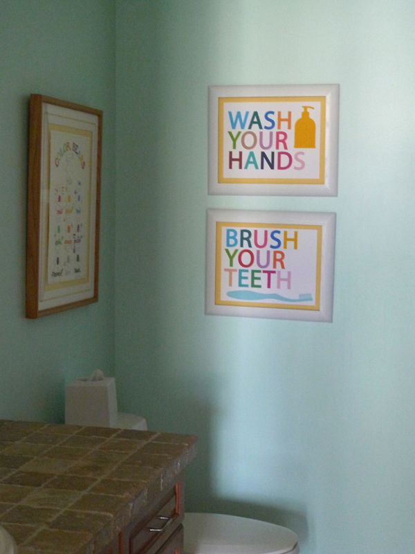 signs for kids' bathroom: wash your hands and brush your teethBathroomcart Bathroom, Bathroom Colors, For Kids, Bathroom Art, Kids Bathroom Decor Diy, Bathroom Ideas, Bathroom Walls, Kid Bathrooms, Bathroom Signs