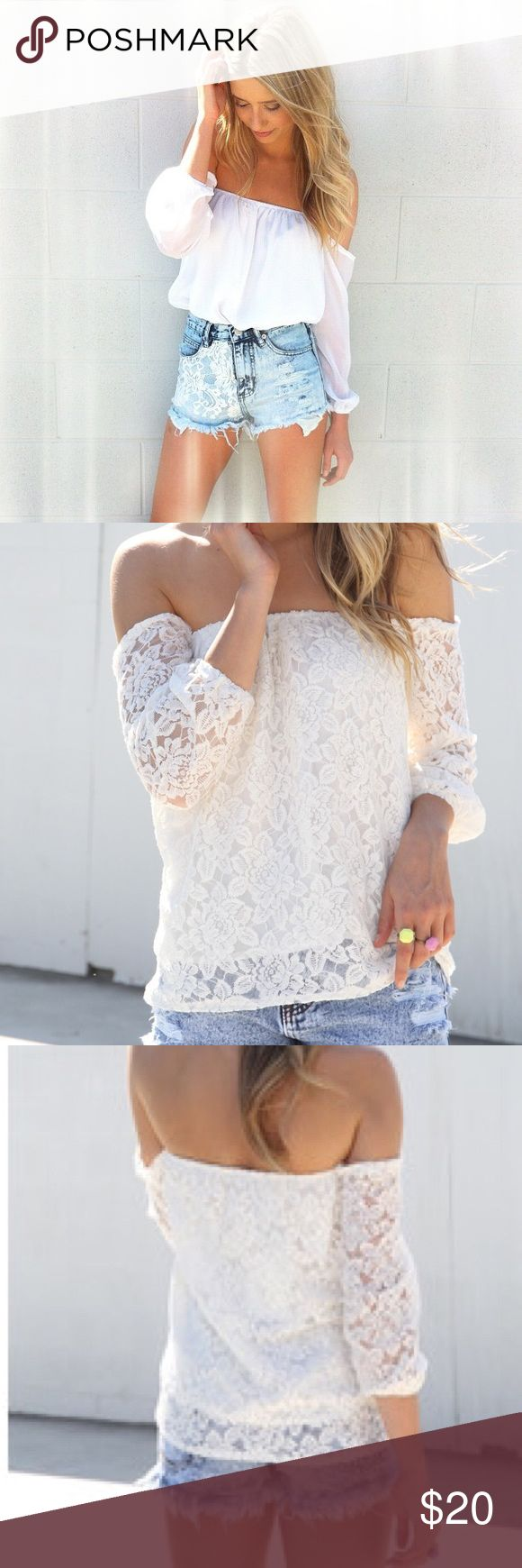 Sabo Skirt Off the Shoulder White Lace Top Super cute tucked into shorts like the model in the first pic! In great condition. Sabo skirt size 8 = US size 0 Sabo Skirt Tops Blouses