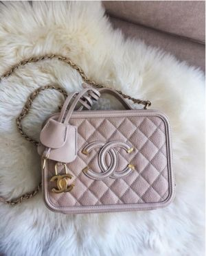 Chanel Beige CC Filigree Vanity Case Small Bag 4