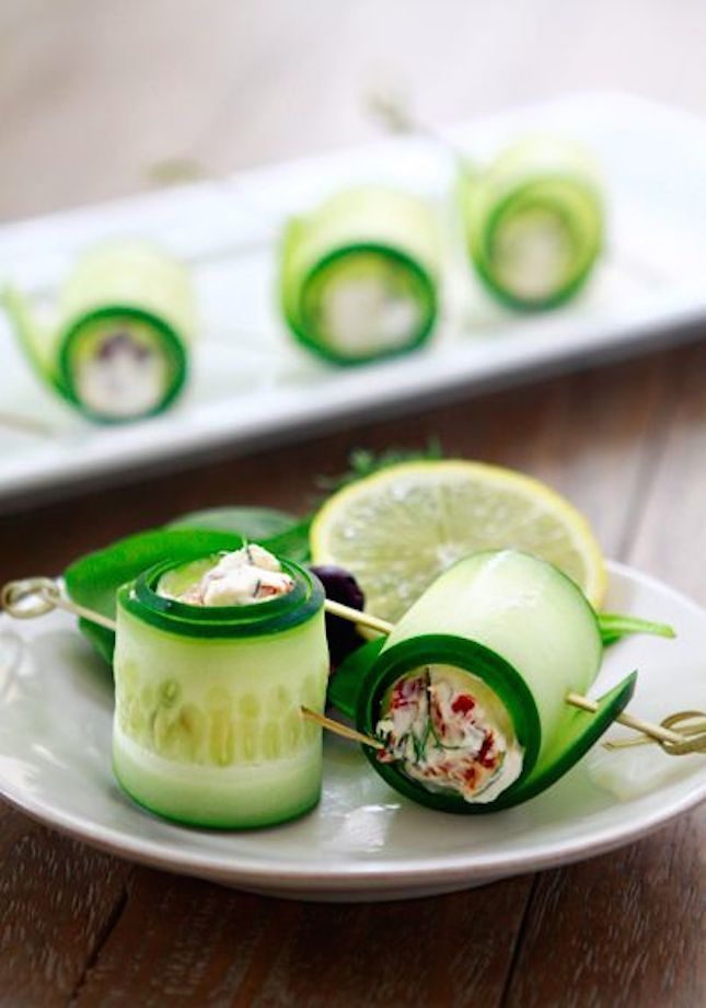 Spring Party Ideas--lots of decorating/recipe ideas.  These Cucumber Feta Rolls are a light and healthy appetizer.