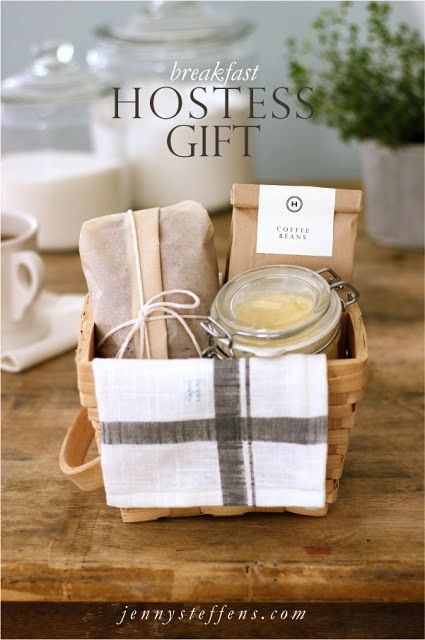 """breakfast-basket - great hostess gift """"morning after"""" basket: Banana Bread 1/4 cup butter (to put on bread) Ground Coffee Beans Kitchen Towel Basket parchment paper (to wrap bread) Kitchen Twine (tie bread) kraft coffee bag small glass jar with lid (to hold butter)"""