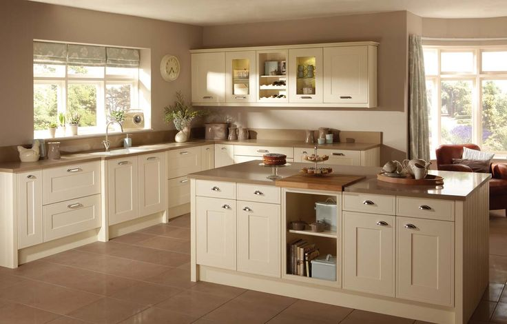 Kitchen Amazing Shaker Kitchen Design Ideas with White Wood Kitchen Cabinet Including Beige Kitchen Wall Paint and Cream Ceramic Tile Kitche...