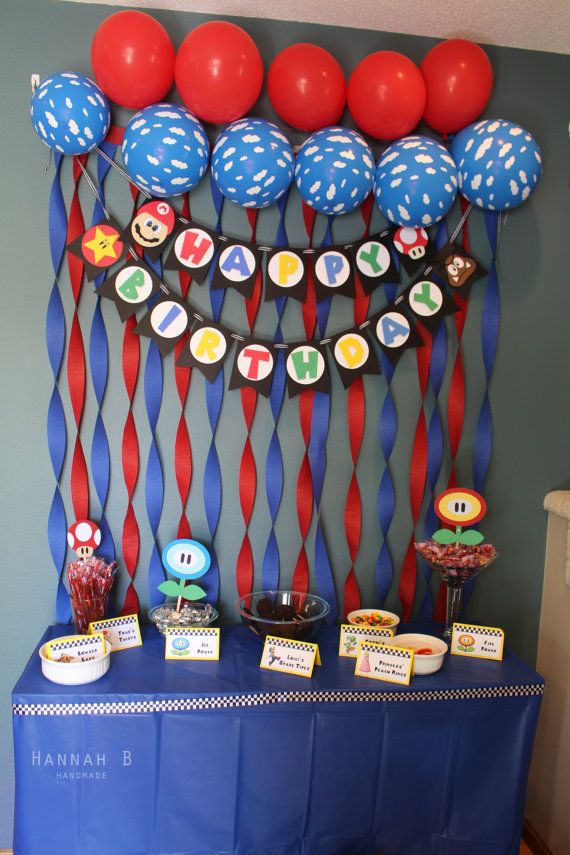 This listing is for a Super Mario Birthday Banner. A great addition to any birthday party! This product is machine cut and handcrafted. Made with