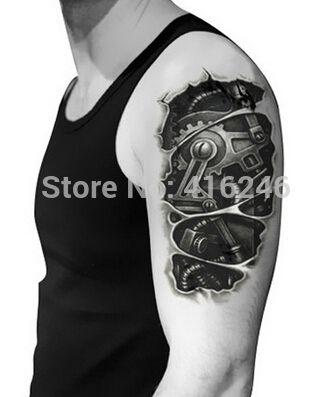5 шт. временные татуировки 3D татуировки черный механическая рука поддельные передачи наклейки горячие сексуальные прохладный мужчины спрей водонепроницаемый дизайн
