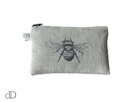 Make Up Bag / Cosmetic Bag /  Purse with Bee print on linen