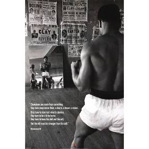 This Muhammad Ali Gym Poster features a quote from the boxer that frames the attitude of a champion and inspires you to push forward and believe in yourself, no matter what. Through a very storied professional career, Muhammad Ali has perservered and is held in the highest regard today. Celebrate his enduring legacy and spirit in your home gym with this inspirational poster.
