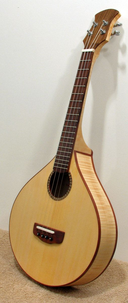 Tenor Ukulele, I developed this instrument with a bouzouki body and a Celtic style head stock, for the Ukulele player who plays in a Celtic band. Ukulele by Bigleaf Mandolins