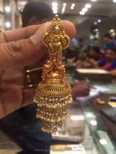 Gold Layered Jhumka Designs, Big Jhumka Designs, Gold Jhumka Designs with Pearls.