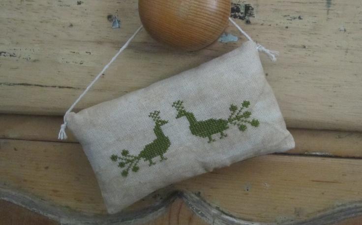 cross stitch small pillow. Rag stuffed