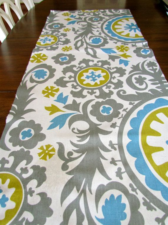 Sale*** Turquoise BLUE TABLE RUNNER 12 x 60 Gray Table Runners Citron Wedding Shower Decorative Aqua Blue Chevron Table Runner Housewares