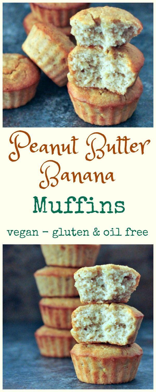 Easy Peanut Butter Banana Muffins Spabettie Vegan Oilfree Glutenfree Breakfast Bakin Easy Peanut Butter Peanut Butter Banana Muffins Vegan Banana Muffins
