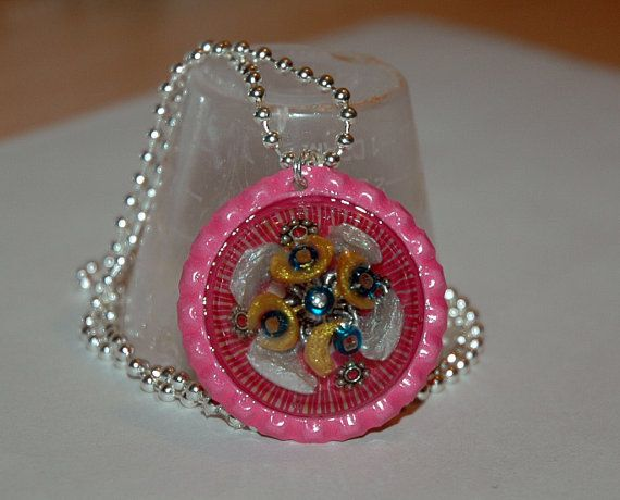 OOAK Pink Resin Bottlecap Necklace by KwaiJewellery on Etsy, $29.95