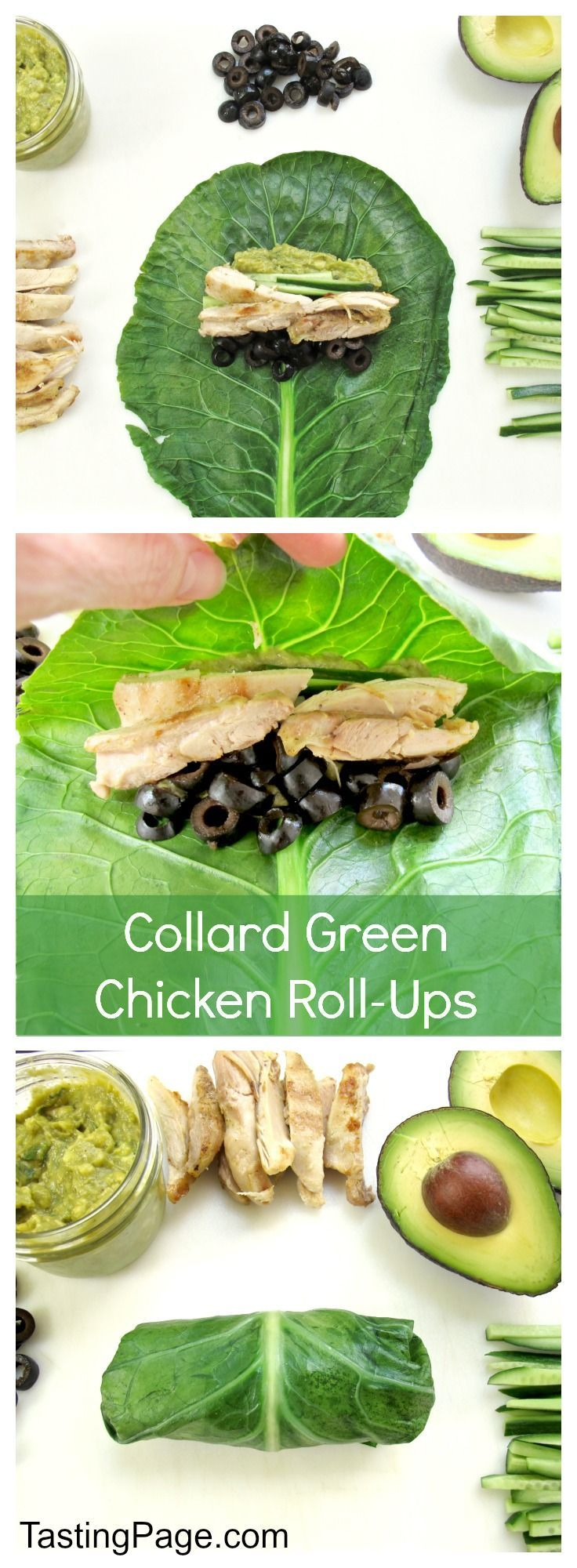 Gluten Free Collard Green Chicken Roll Ups - all your favorite burrito ingredients in a blanched healthy collard green wrapper with chicken, vegetables and fresh guacamole - gluten free and dairy free | TastingPage.com