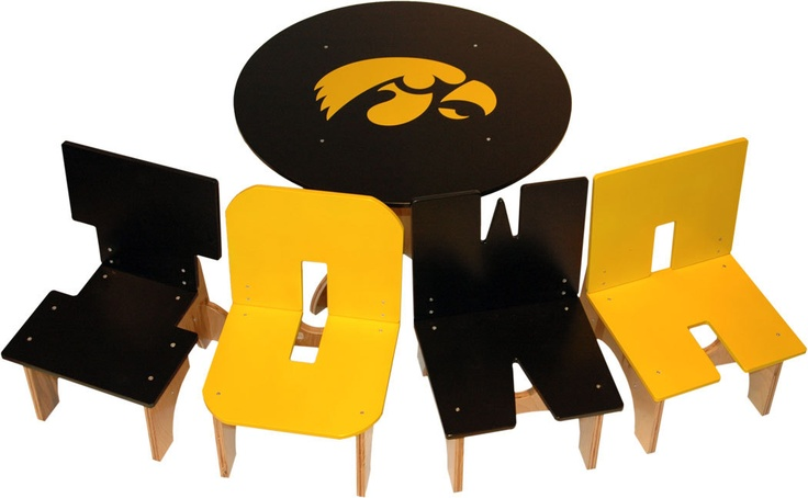 Iowa Hawkeye Table and Chair Set by Kazzoinks on Etsy