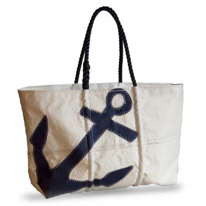 Large Navy Zip Top Anchor Tote with Navy Rope Handles - Click Image to Enlarge