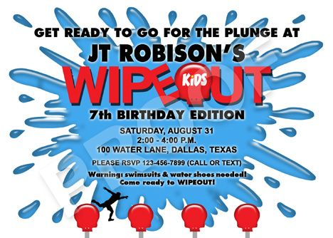 Wipeout Party Invitation