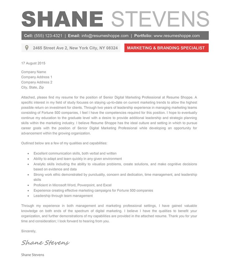 Cover letter template creative cover letter template