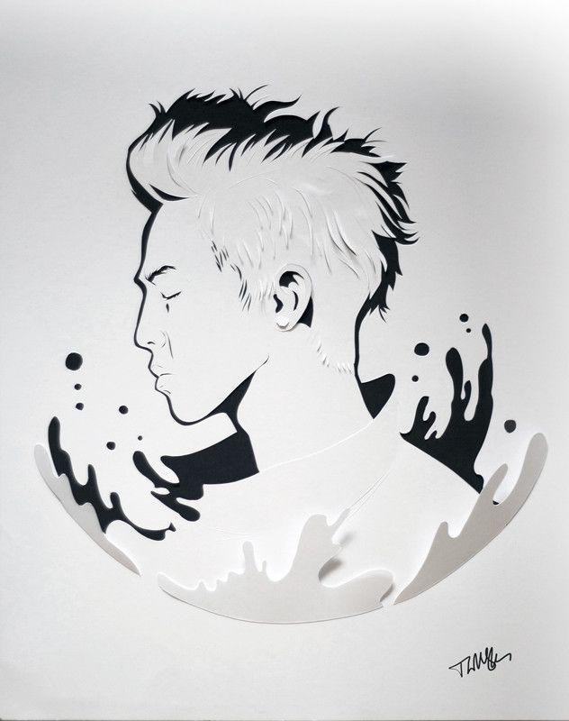 G Dragon paper portrait