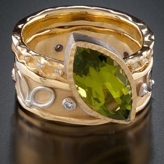 Rings, 18k yellow gold, 14k white gold, peridot, diamonds Ann Marie Cianciolo