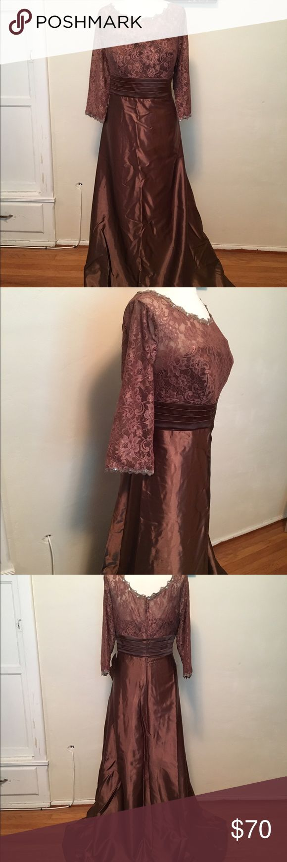 A-line Bridal/Mother of the Bride Dress Brown A-line Bridal/Mother of the Bride stretch satin dress with lace, brush train, 1/2 sleeves, lace....tags attached, never worn, in original bag & packing box. Dresses Wedding