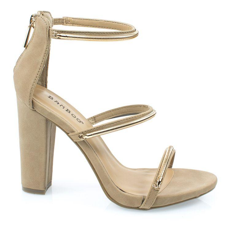 Limelight34M Camel Triple Metal Chain Block Heel Dress Sandal. Women's Evening Dress Sandal