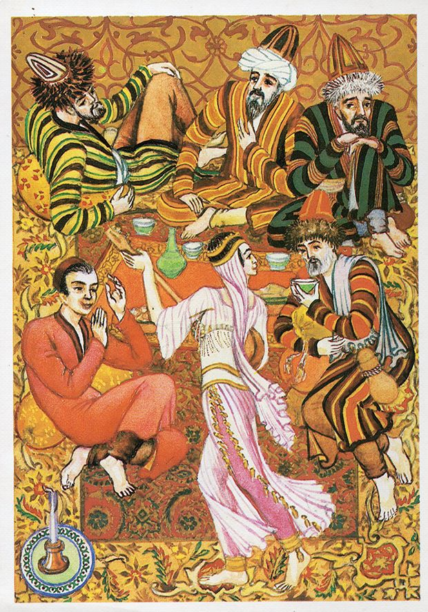 One Thousand and One Nights (Artist A. Melihov) - Set of 16 Vintage Postcards - Printed in the USSR, «Fine Arts», Moscow, 1987