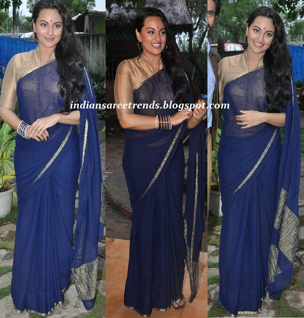 Latest Traditional and Designer Sarees: Sonakshi sinha in plain blue color chiffon saree w...