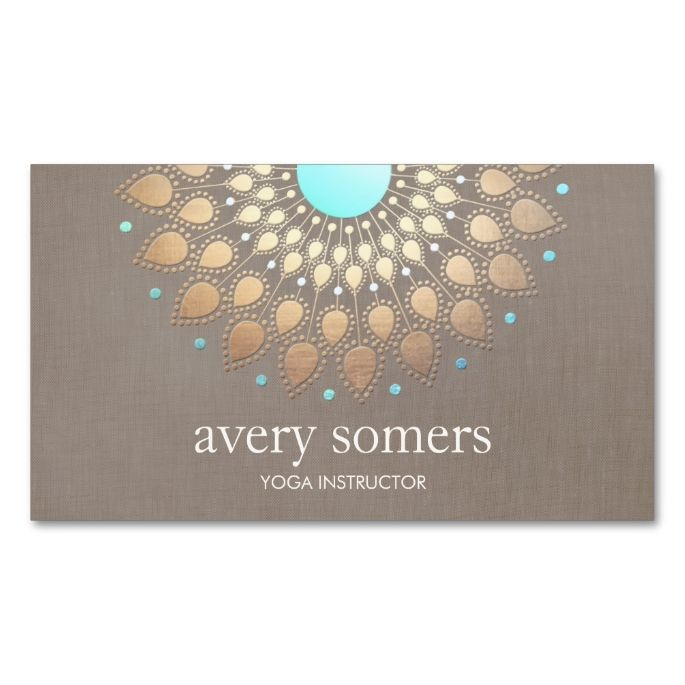2156 best yoga business cards images on pinterest business cards elegant yoga gold lotus mandala taupe linen business card colourmoves