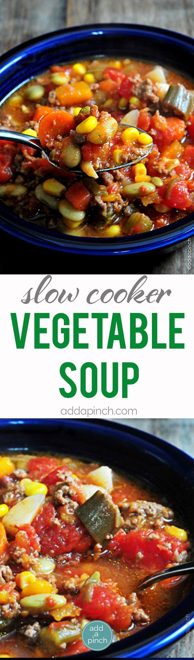 Slow Cooker Vegetable Soup - This Slow Cooker Vegetable Soup recipe is so simple to make and absolutely scrumptious. A definite family favorite!