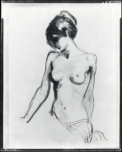 Ink drawing of nude woman/ Robert Henry