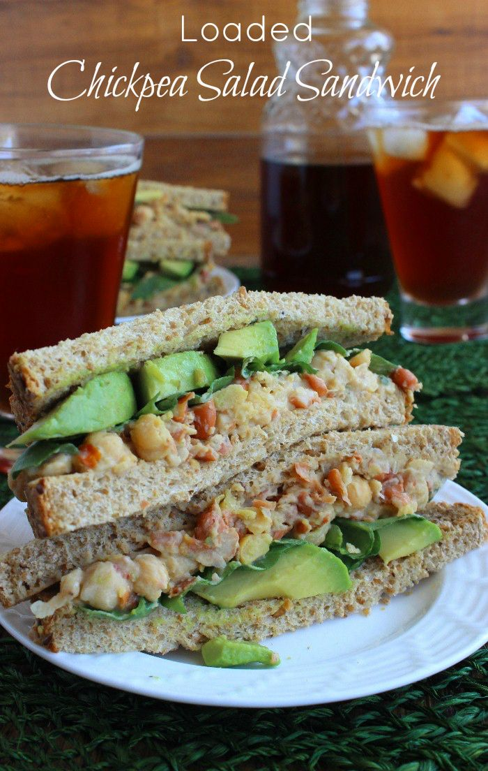 Loaded Chickpea Salad Sandwich is a complete meal with even more veggies and spices added. Quick to prepare and keeps great in the fridge or freezer.