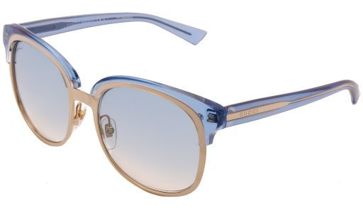 The Gucci GG 4241/S sunglasses contains blue & gold frames with a gradient blue lens.