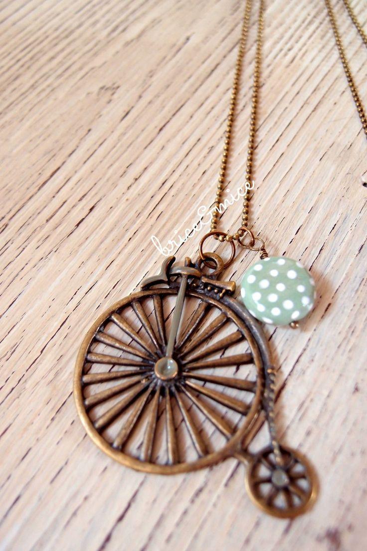 Long necklace pendant bicycle, velocipede vintage, retro style pendant, vintage, kawaii lolita pin up retro rockabilly vintage, polka dots di briceEmiceHandmade su Etsy