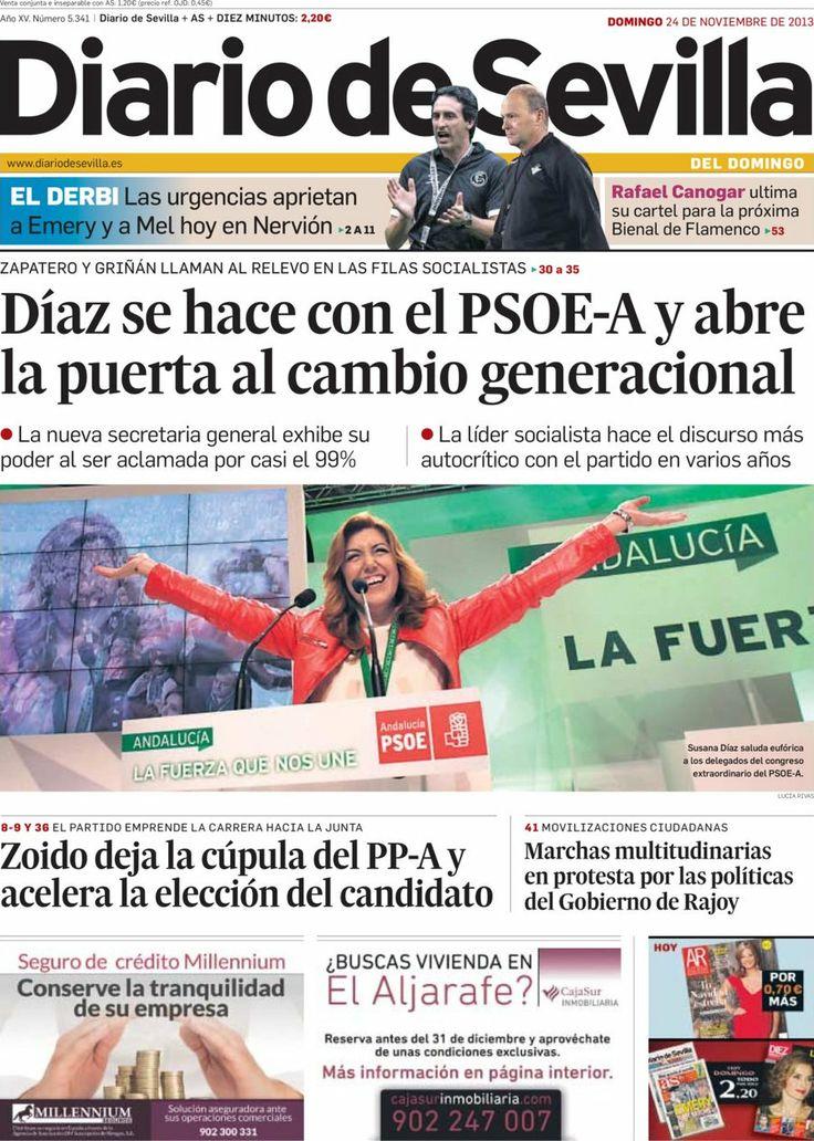 Los Titulares y Portadas de Noticias Destacadas Españolas del 24 de Noviembre de 2013 del Diario de Sevilla ¿Que le pareció esta Portada de este Diario Español?