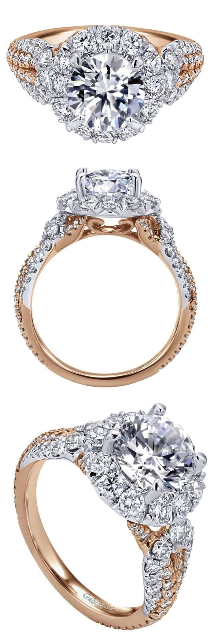 So many diamonds, so lovely!! This gorgeous 18k White and Rose Gold Contemporary Halo Engagement Ring by Gabriel & Co. is to die for! Take knee and propose to the love of your life with this flawless and shining engagement ring!