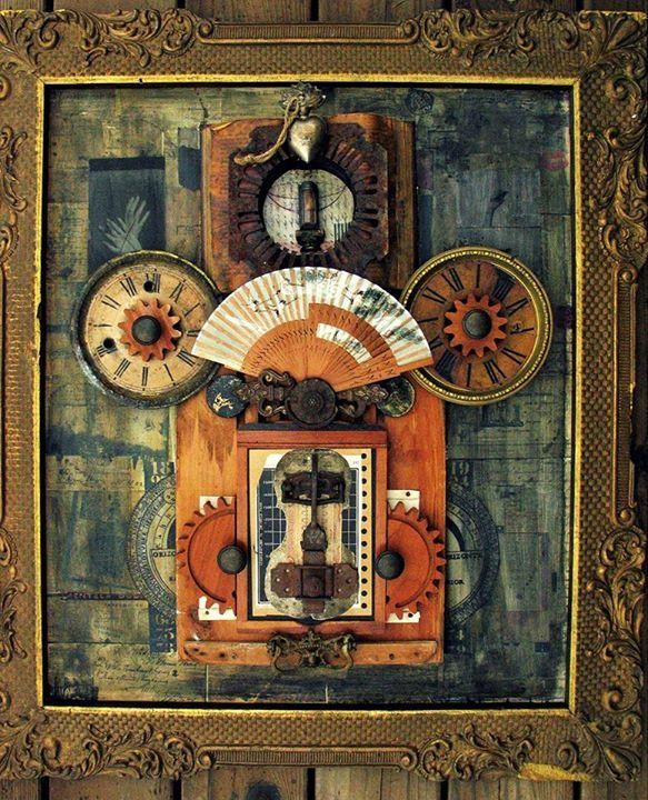 Fan wheel by Michael Wilson of The Beat Gallery. Oil paints, collage and art assemblage 2017.