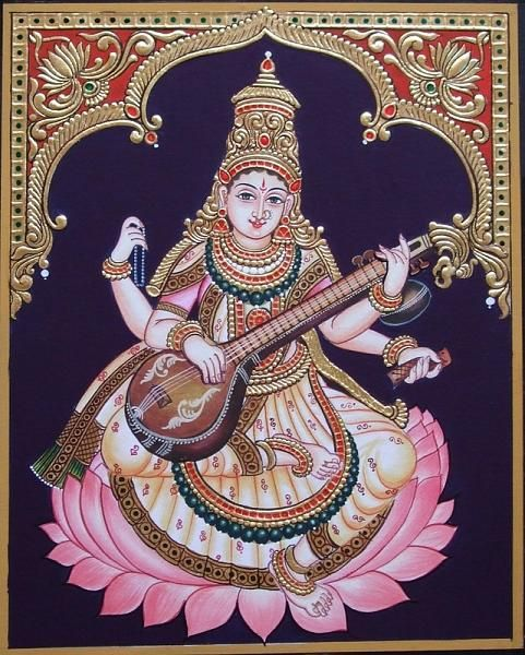 Glittering image of Goddess Saraswathi in  the Tanjore style of painting.