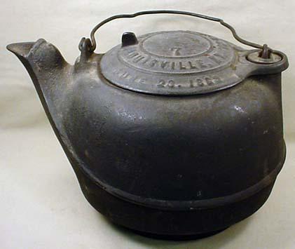 1863 CIVIL WAR ERA CAST IRON TEA KETTLE ~ liveauctiongroup - 119 Best Images About Antique Cast Iron Cooking Needfuls On Pinterest