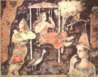 A Visual treat:A painting by Sakti Burman on display at Lalit Kala Bhavan in New Delhi.