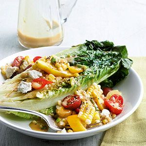 Grilled Romaine Salad with Tomato and Corn Tumble @Better Homes and Gardens