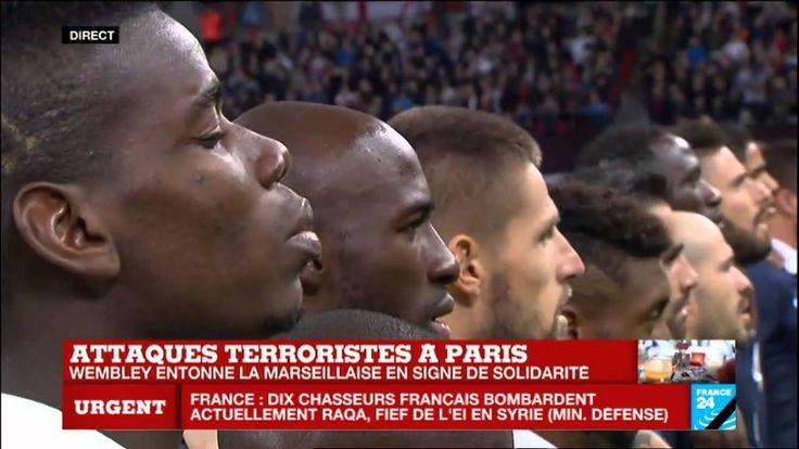 """""""La Marseillaise"""" entonnée par l'ensemble du stade de Wembley avant Fran..."""