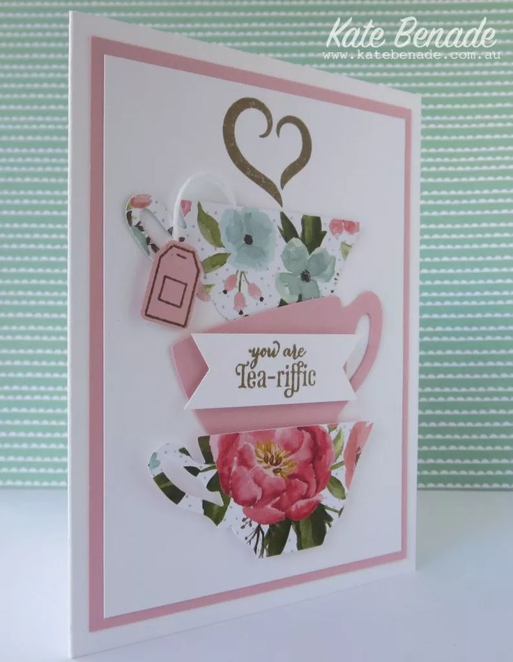 2016 Stampin' Up! Occasions Catalogue, A Nice Cuppa stamp set, Cups and Kettles framelits dies, Birthday Bouquet DSP, Pootles Blog Hop, Kate Benade Stampin' Up! Demonstrator Melbourne Australia,  www.katebenade.com.au