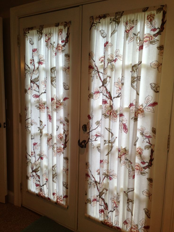 French door curtains made from a target shower curtain that we cut in half home - Curtain for kitchen door ...