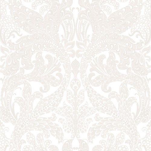Eco White Light no. 1716. Valkoinen helmiäiskuvio tapetti, jossa hieman oriental- henkinen suuri kuviointi. Voisi toimia vaihtoehtona teidän makkarissa.