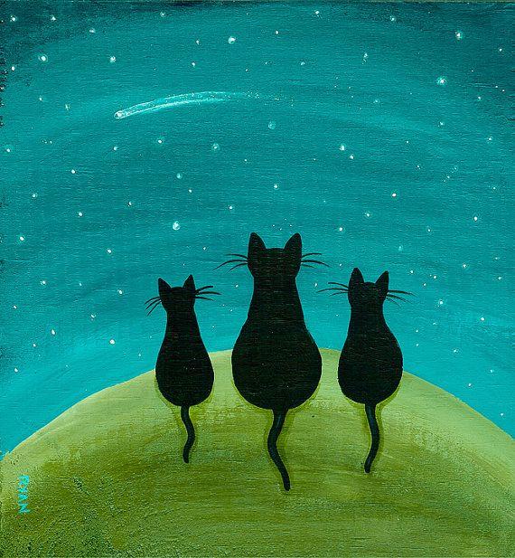 cat folk art | Shooting Star Original Cat Folk Art Painting