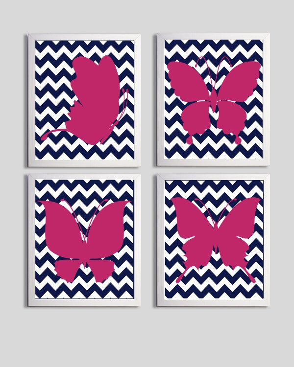 Perth room Nursery Art Chevron Butterflies Hot Pink Navy Silhouettes customize colors set of 4 each 8x10. $48.00, via Etsy.