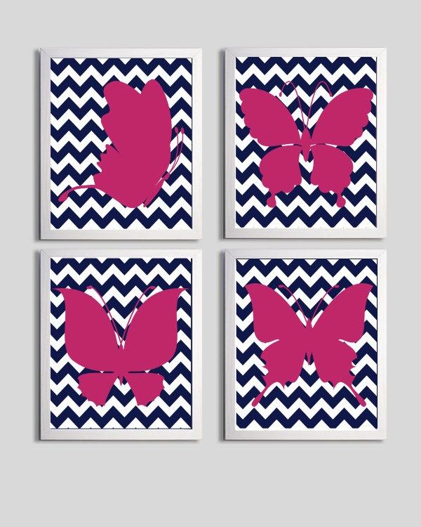 Nursery Art Chevron Butterflies Hot Pink Navy by ZeppiPrints