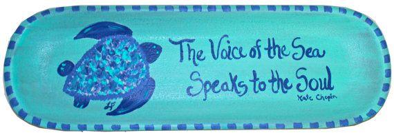 Sea Turtle Decorative Tray by LemondaisyDesign on Etsy, $39.00